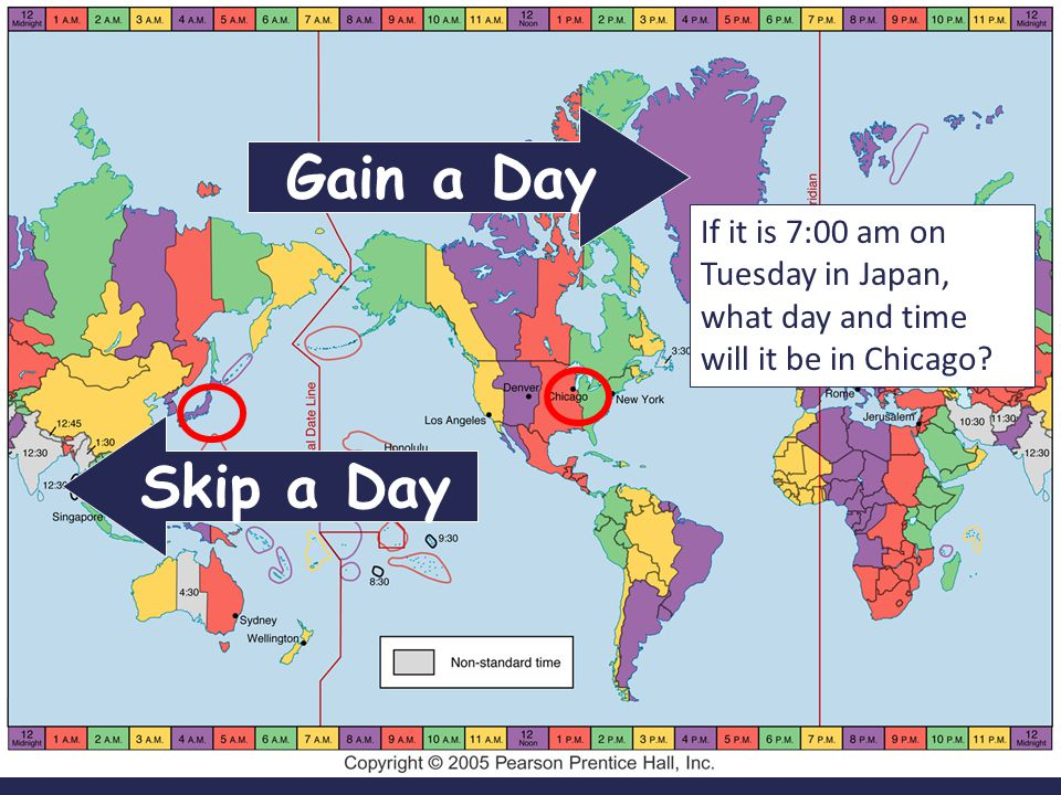 Gain a Day If it is 7:00 am on Tuesday in Japan, what day and time will it be in Chicago.