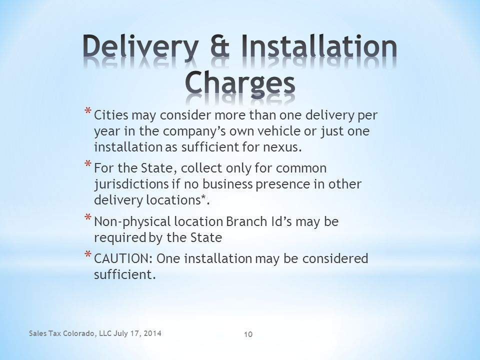 Delivery & Installation Charges