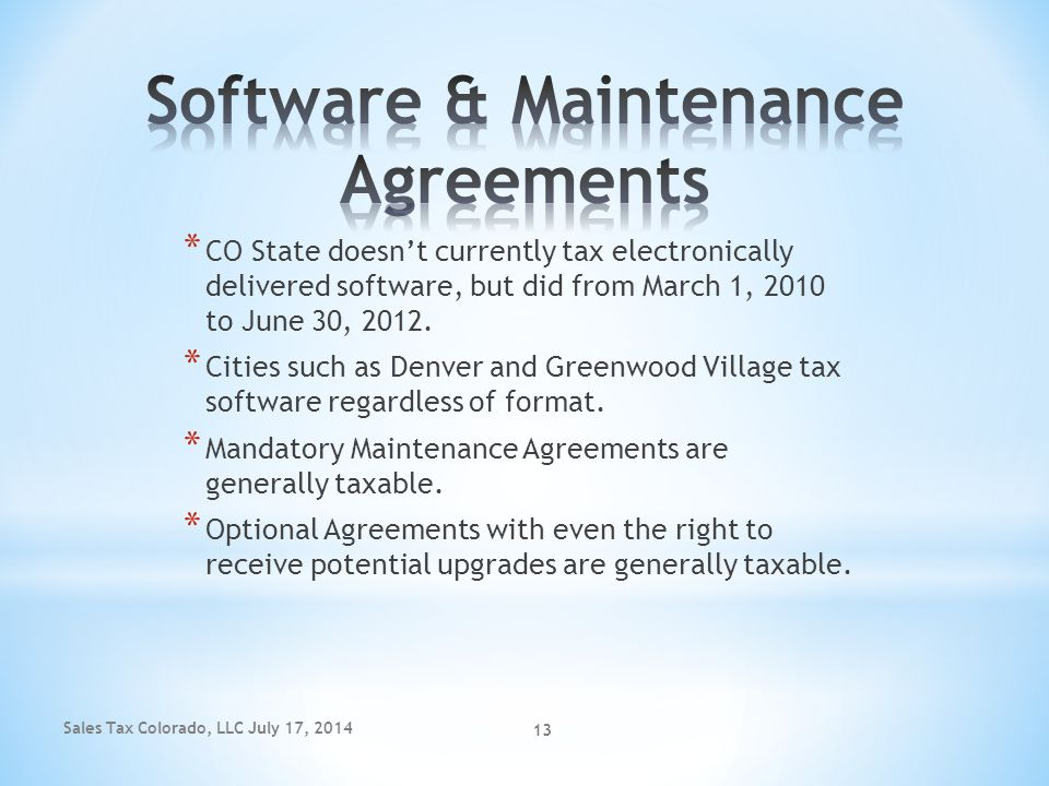 Software & Maintenance Agreements