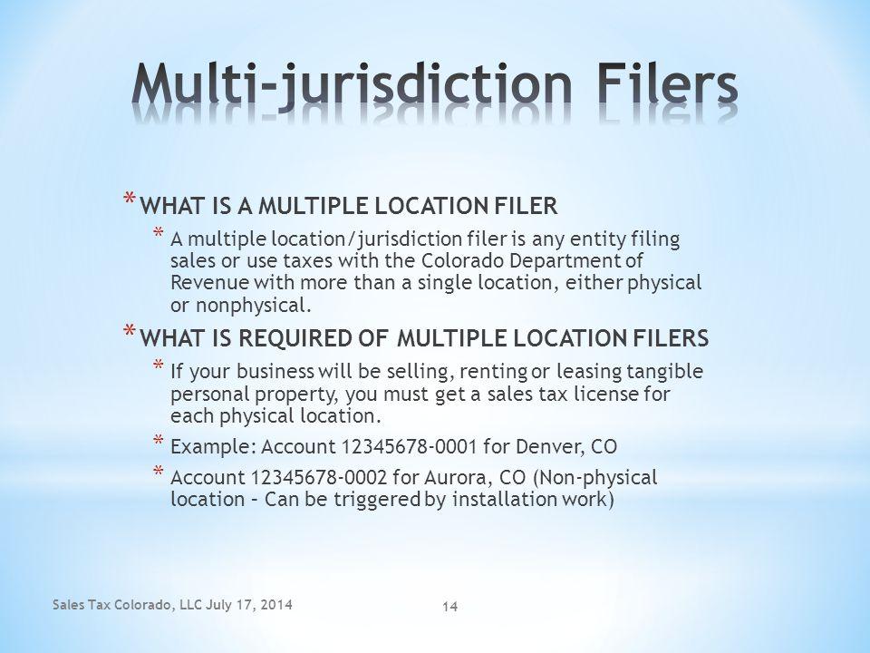 Multi-jurisdiction Filers