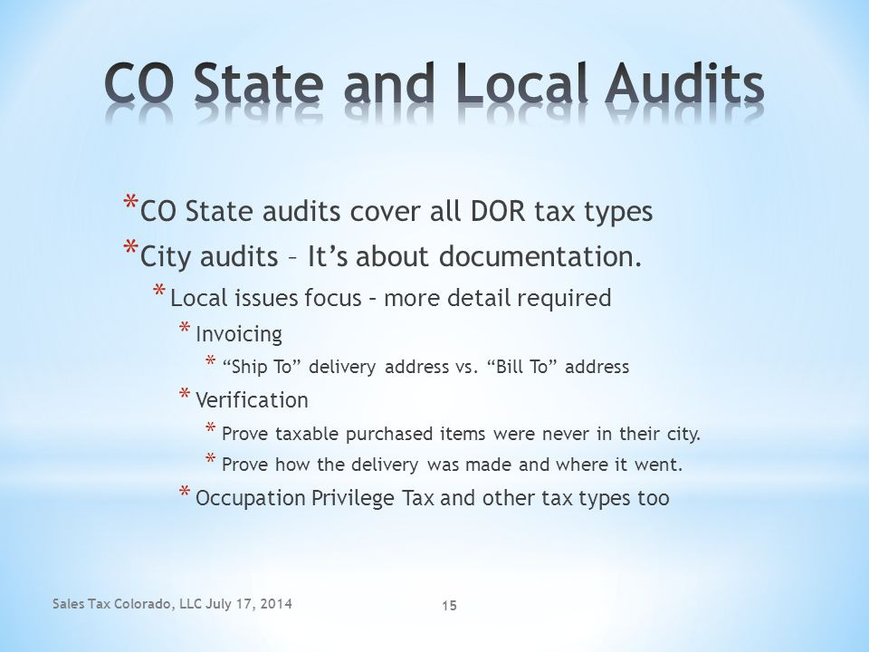 CO State and Local Audits