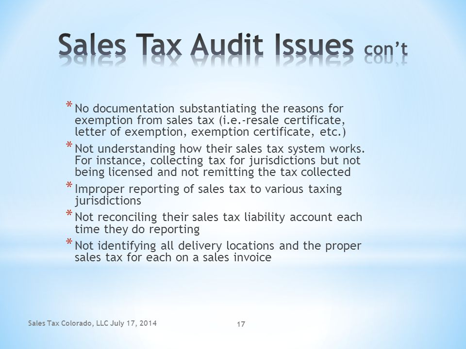 Sales Tax Audit Issues con't