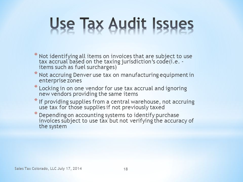 Use Tax Audit Issues