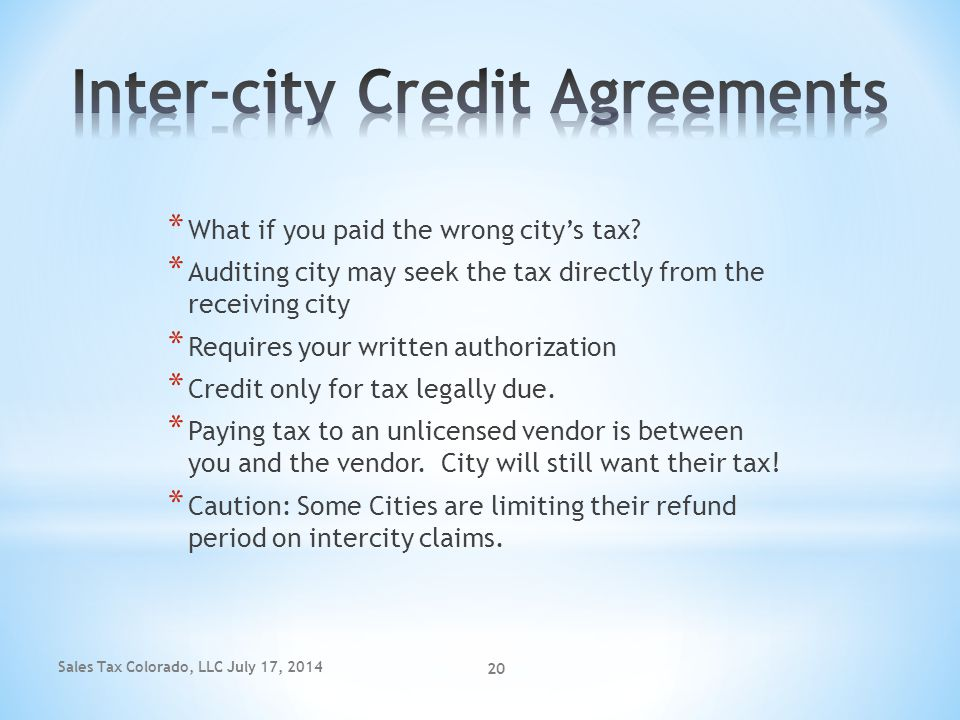 Inter-city Credit Agreements