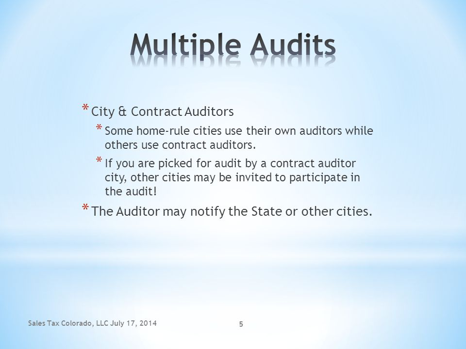 Multiple Audits City & Contract Auditors