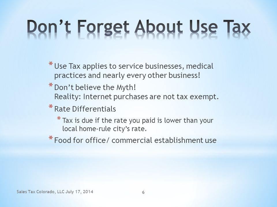 Don't Forget About Use Tax