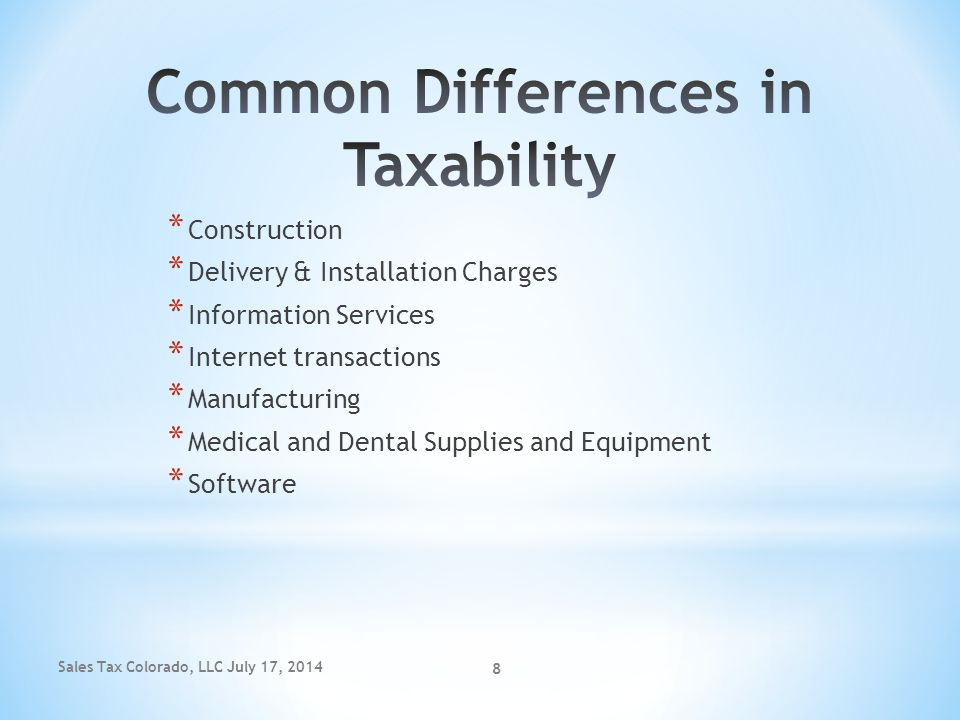 Common Differences in Taxability