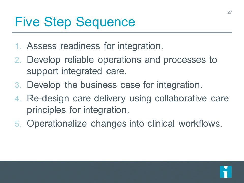 Five Step Sequence Assess readiness for integration.