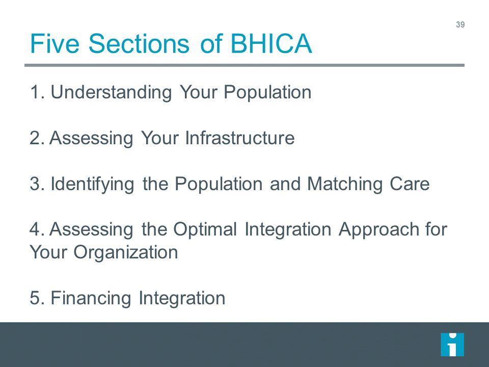 Five Sections of BHICA 1. Understanding Your Population