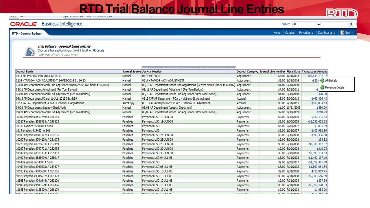 RTD Trial Balance Journal Line Entries