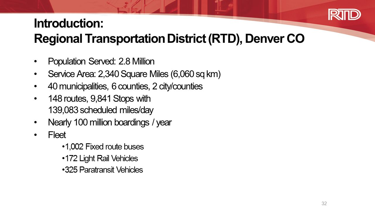 Introduction: Regional Transportation District (RTD), Denver CO
