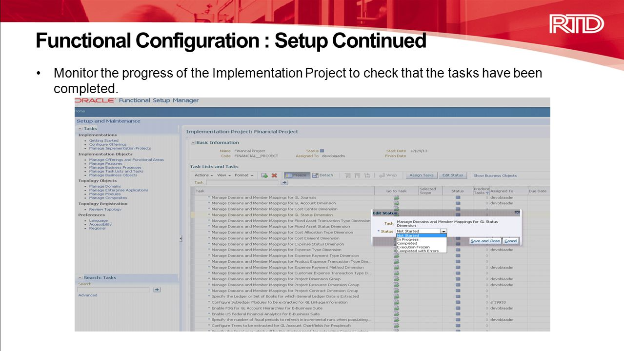 Functional Configuration : Setup Continued
