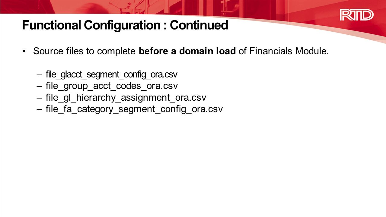 Functional Configuration : Continued