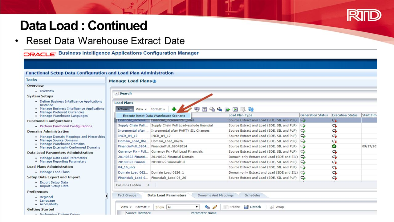 Data Load : Continued Reset Data Warehouse Extract Date