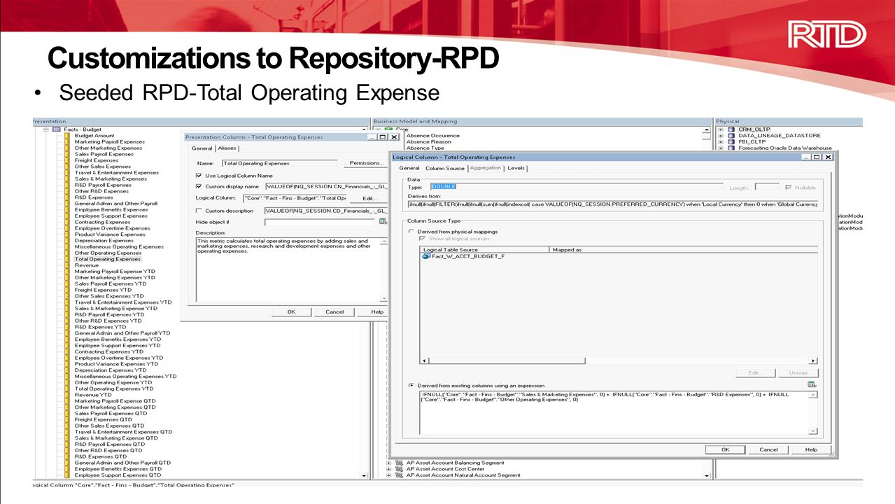 Customizations to Repository-RPD