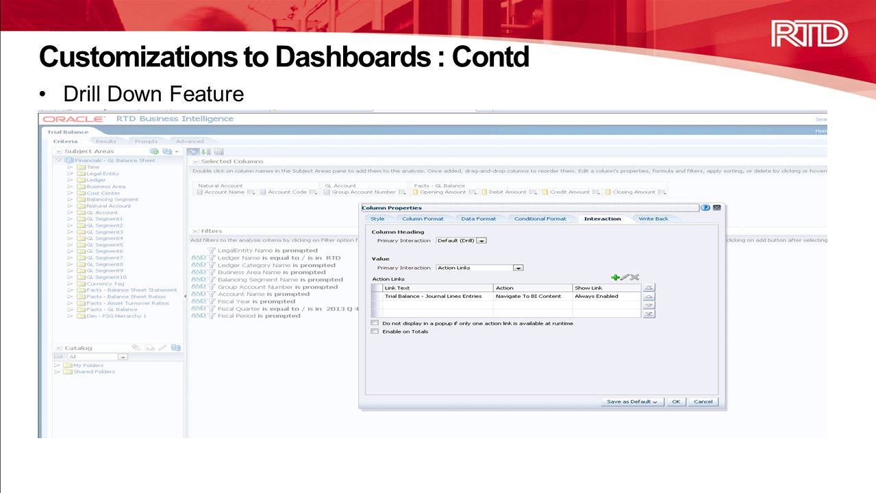 Customizations to Dashboards : Contd