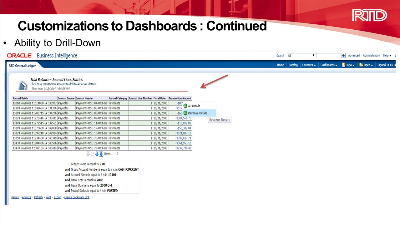 Customizations to Dashboards : Continued