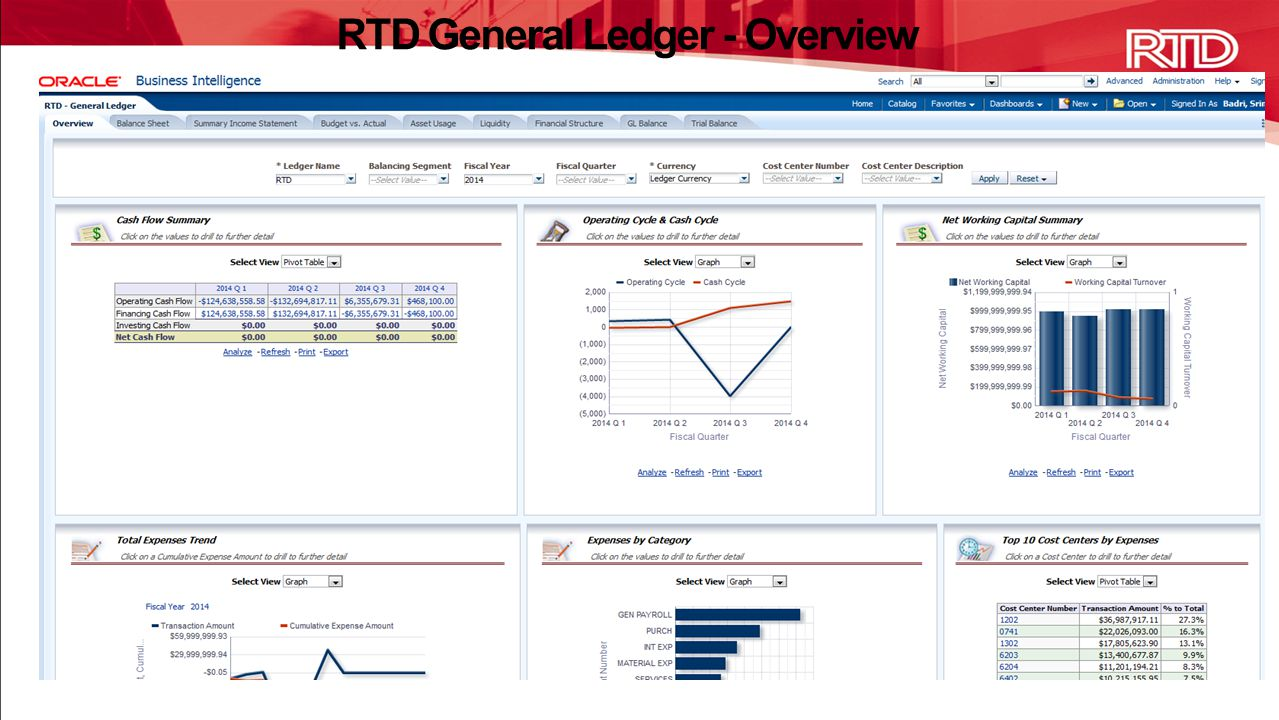 RTD General Ledger - Overview