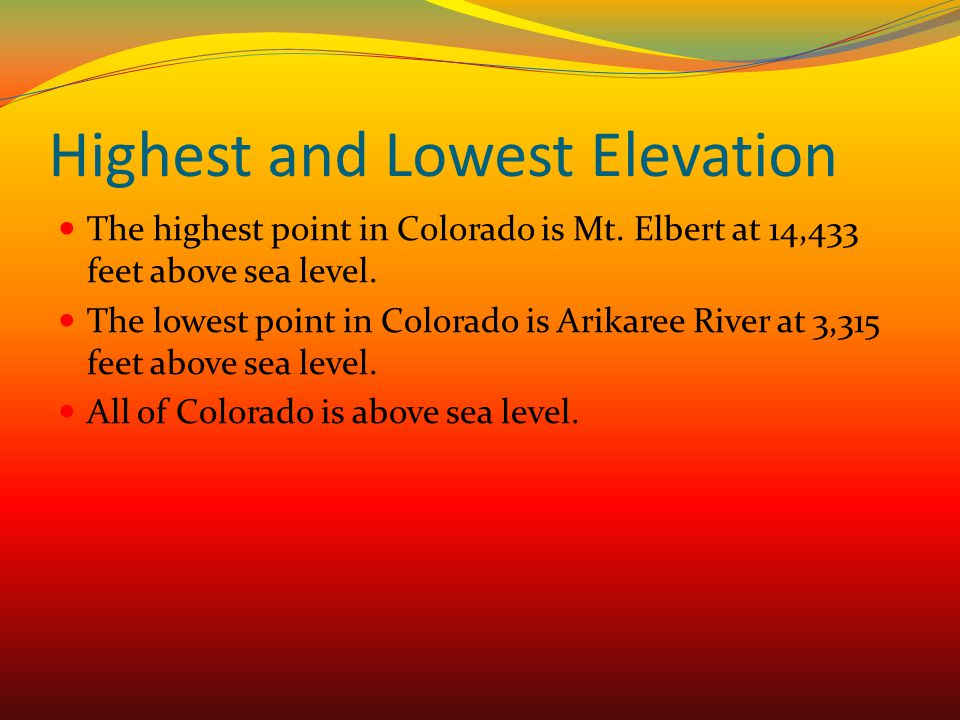 Highest and Lowest Elevation