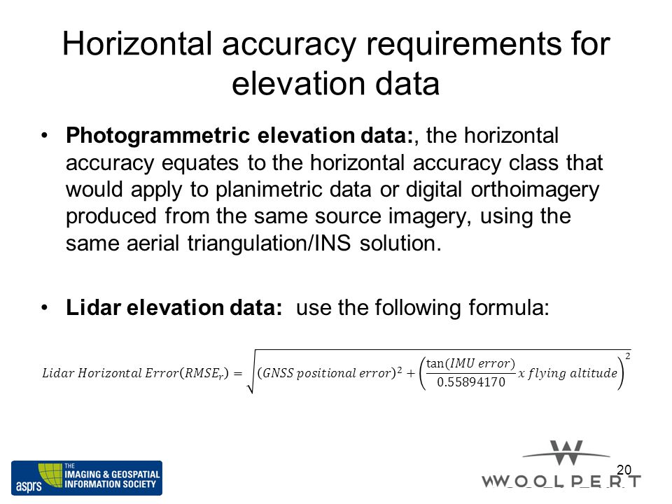 Horizontal accuracy requirements for elevation data