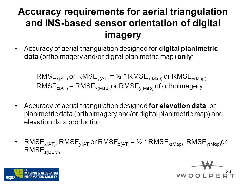 Accuracy requirements for aerial triangulation and INS-based sensor orientation of digital imagery