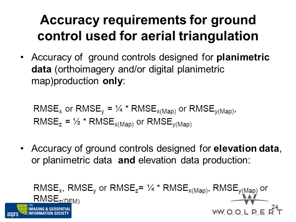 Accuracy requirements for ground control used for aerial triangulation