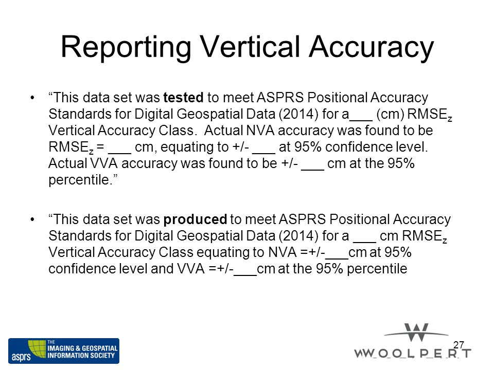 Reporting Vertical Accuracy