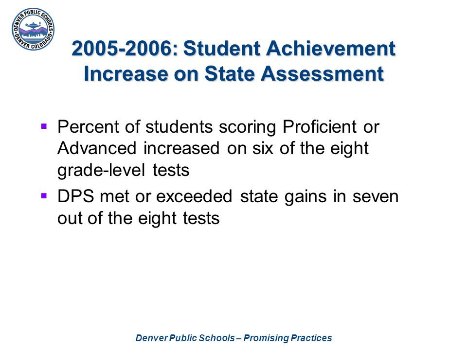 2005-2006: Student Achievement Increase on State Assessment