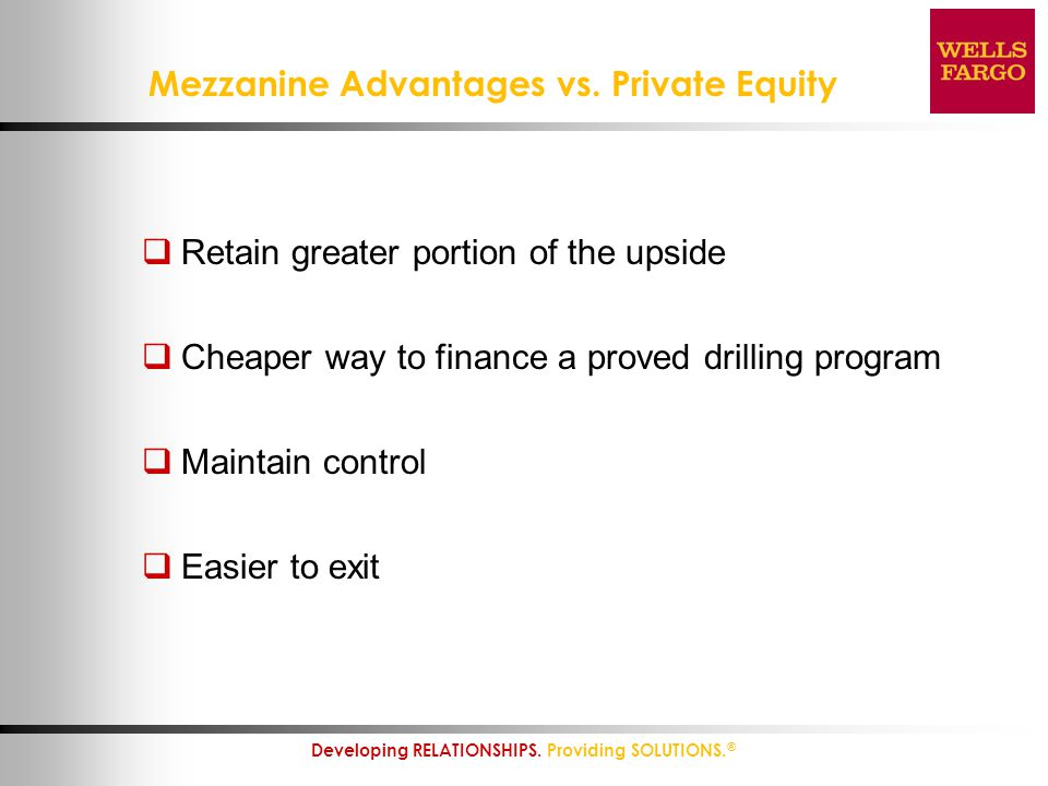 Mezzanine Advantages vs. Private Equity