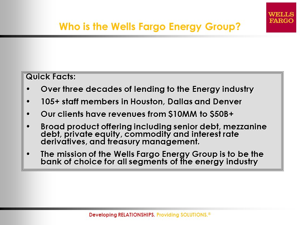 Who is the Wells Fargo Energy Group