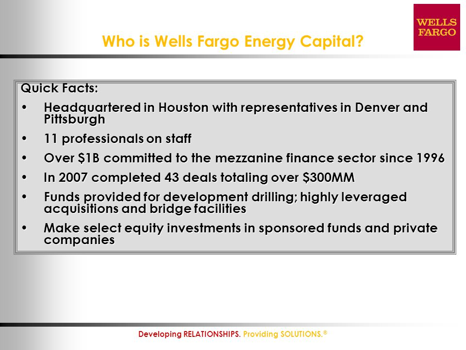 Who is Wells Fargo Energy Capital