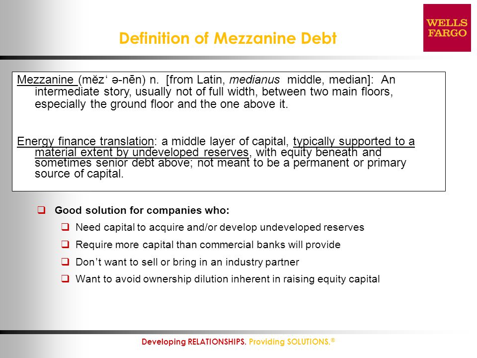 Definition of Mezzanine Debt