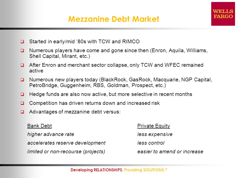 Mezzanine Debt Market Started in early/mid '80s with TCW and RIMCO