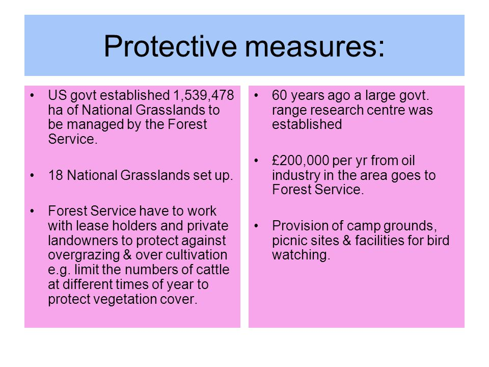 Protective measures: US govt established 1,539,478 ha of National Grasslands to be managed by the Forest Service.