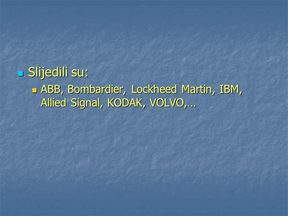 Slijedili su: ABB, Bombardier, Lockheed Martin, IBM, Allied Signal, KODAK, VOLVO,…