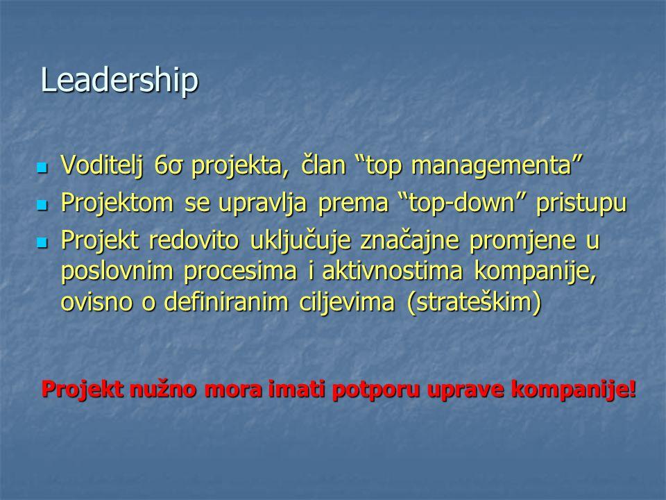 Leadership Voditelj 6σ projekta, član top managementa