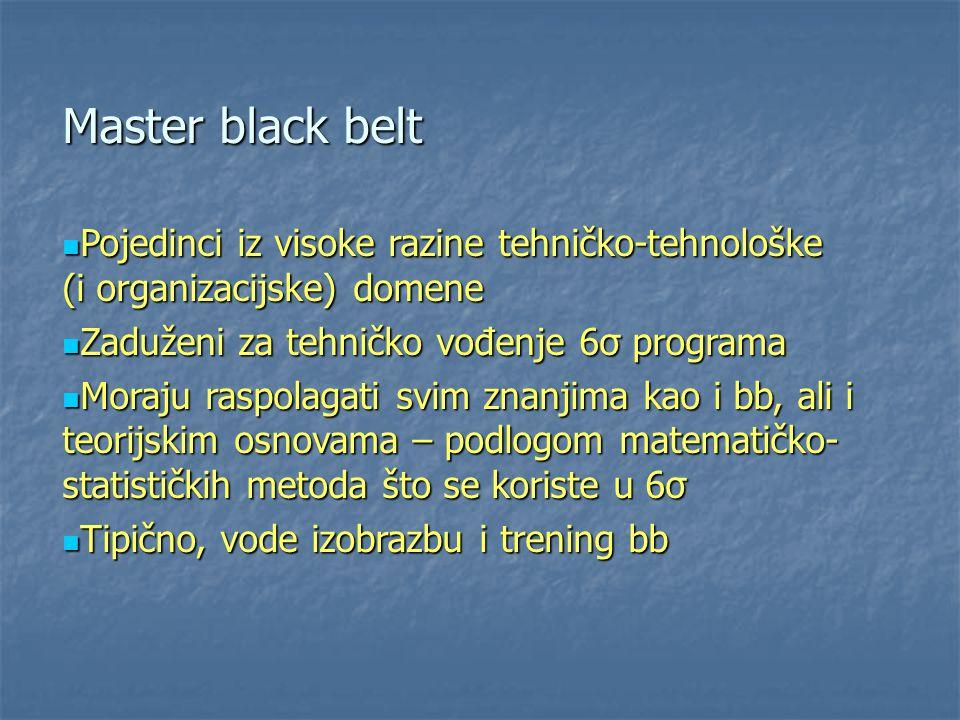 Master black belt Pojedinci iz visoke razine tehničko-tehnološke (i organizacijske) domene. Zaduženi za tehničko vođenje 6σ programa.