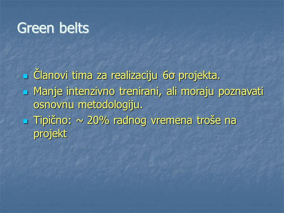 Green belts Članovi tima za realizaciju 6σ projekta.