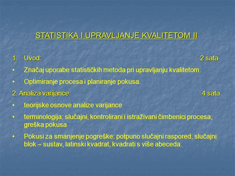 STATISTIKA I UPRAVLJANJE KVALITETOM II