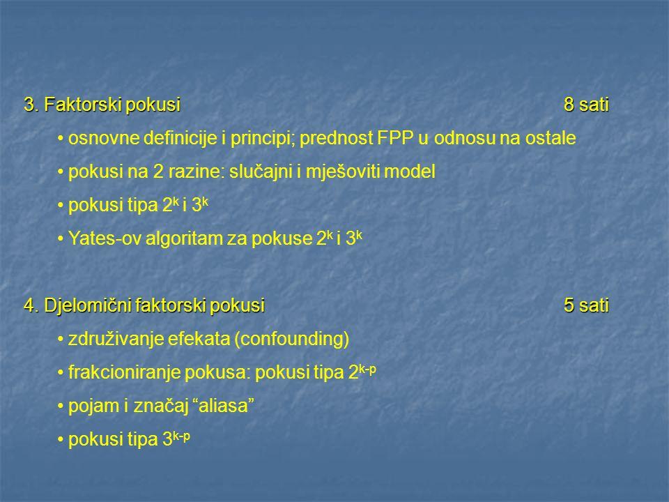 3. Faktorski pokusi 8 sati osnovne definicije i principi; prednost FPP u odnosu na ostale. pokusi na 2 razine: slučajni i mješoviti model.