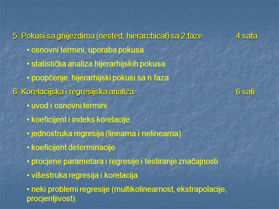 5. Pokusi sa gnijezdima (nested, hierarchical) sa 2 faze 4 sata