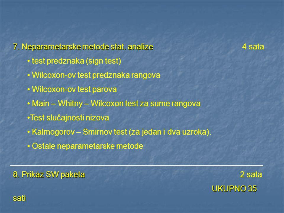 7. Neparametarske metode stat. analize 4 sata