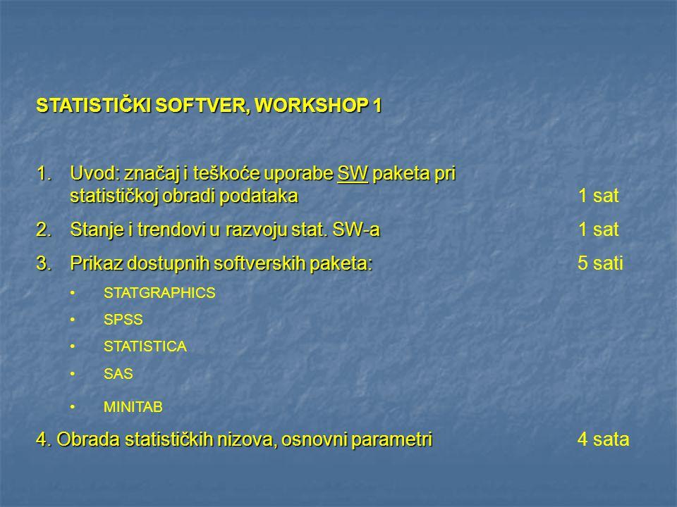 STATISTIČKI SOFTVER, WORKSHOP 1