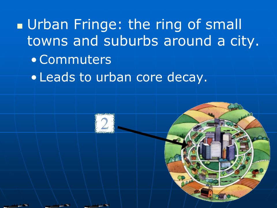 Urban Fringe: the ring of small towns and suburbs around a city.