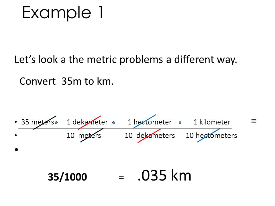 Example 1 Let's look a the metric problems a different way.