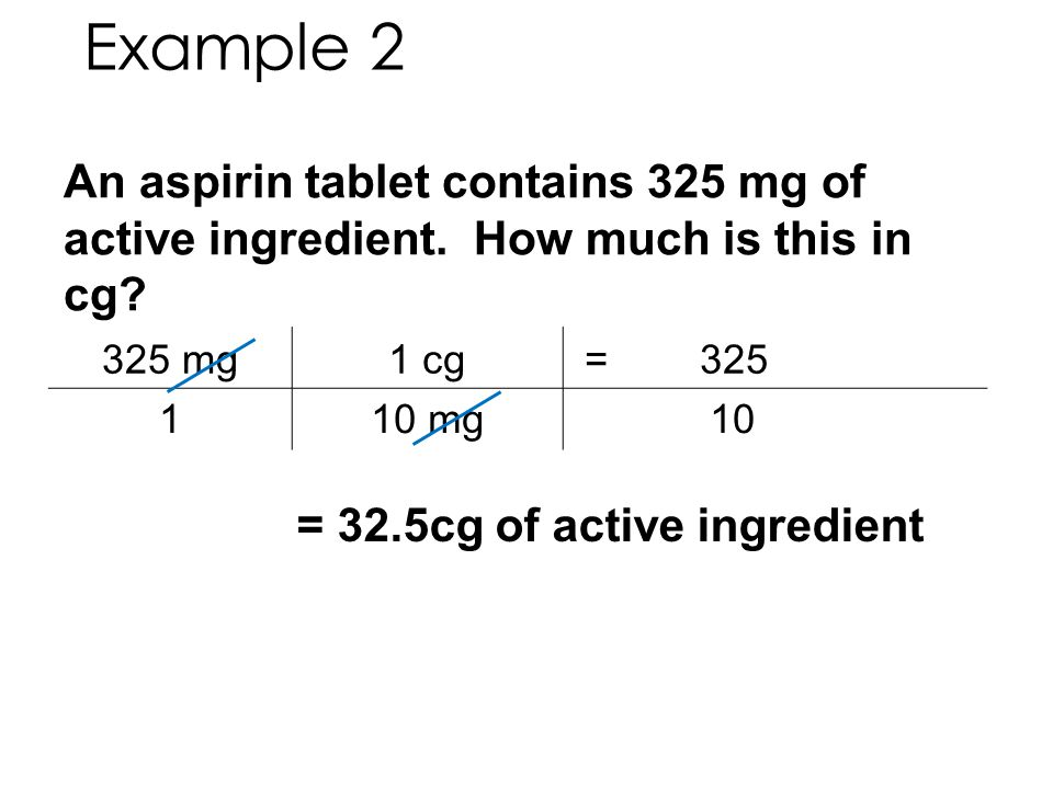 Example 2 An aspirin tablet contains 325 mg of active ingredient. How much is this in cg 325 mg.