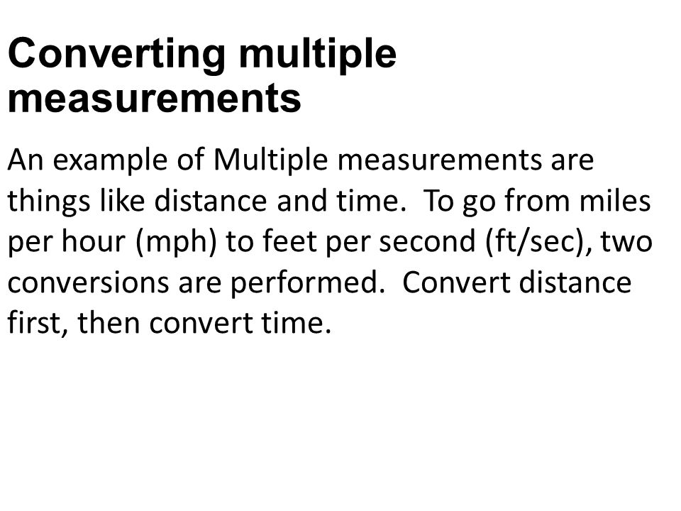 Converting multiple measurements
