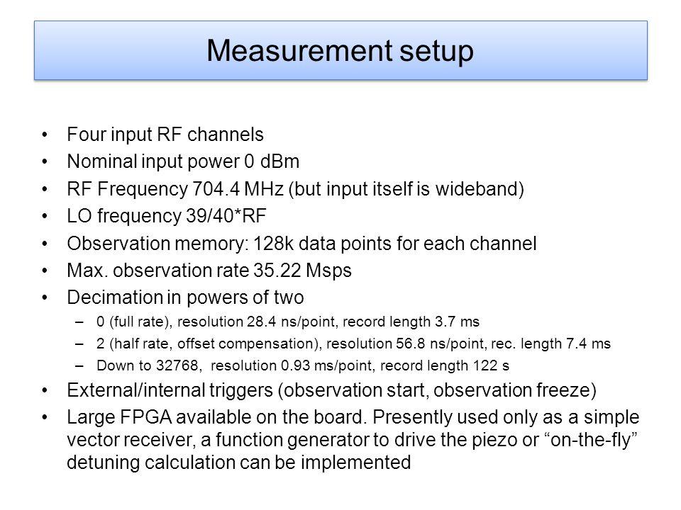 Measurement setup Four input RF channels Nominal input power 0 dBm