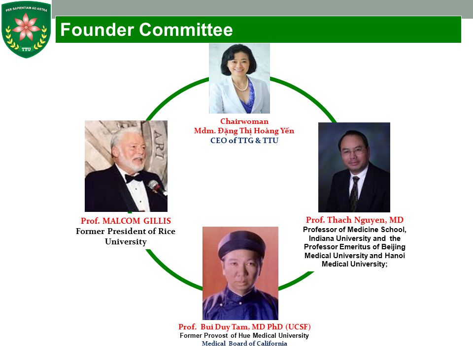 Founder Committee Prof. MALCOM GILLIS Prof. Thach Nguyen, MD