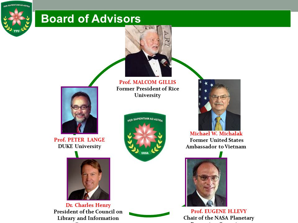 Board of Advisors Prof. MALCOM GILLIS